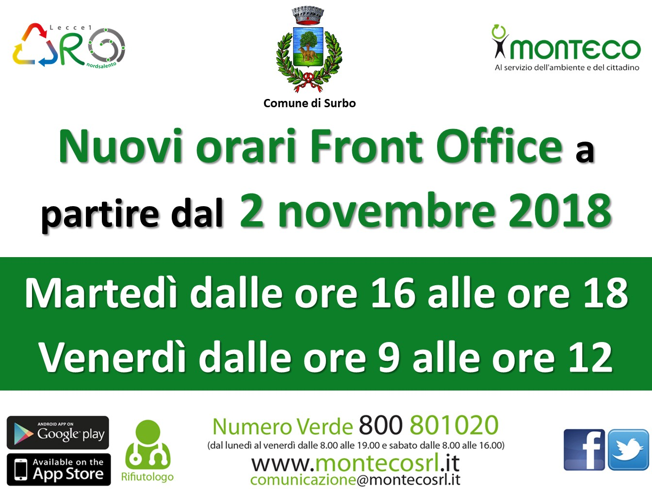 Surbo - Nuovi orari Front Office a partire dal 2 novembre 2018