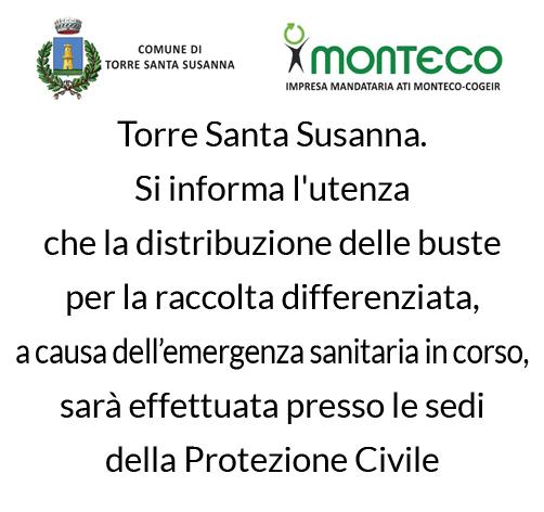 Torre Santa Susanna. Si Informa l'utenza che la distribuzione delle buste per la raccolta differenziata sarà effettuata dalla Protezione Civile