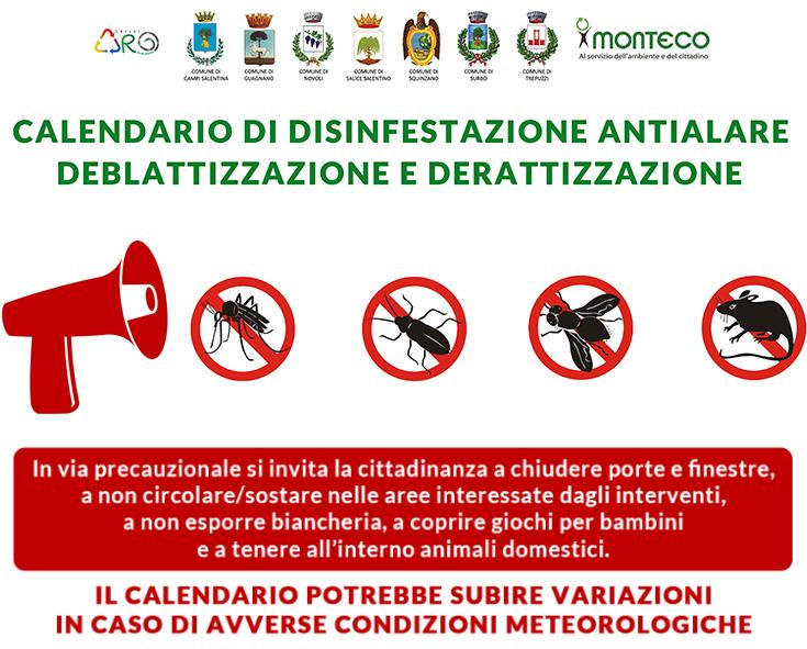 ARO LE1. Calendari di disinfestazione antialare, deblattizzazione e derattizzazione