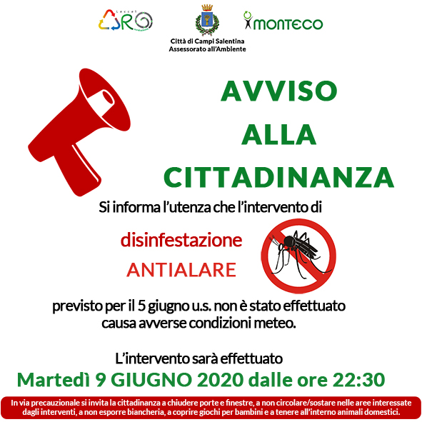 Campi Salentina. Intervento di disinfestazione antialare