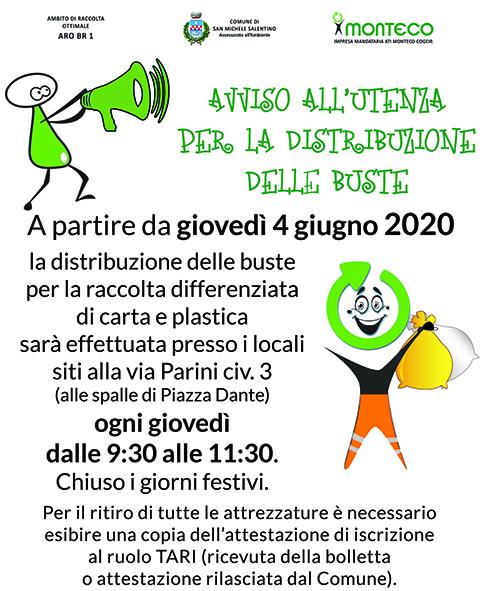 Dal 4 giugno il Front Office per la distribuzione delle buste sarà in via Parini n. 3