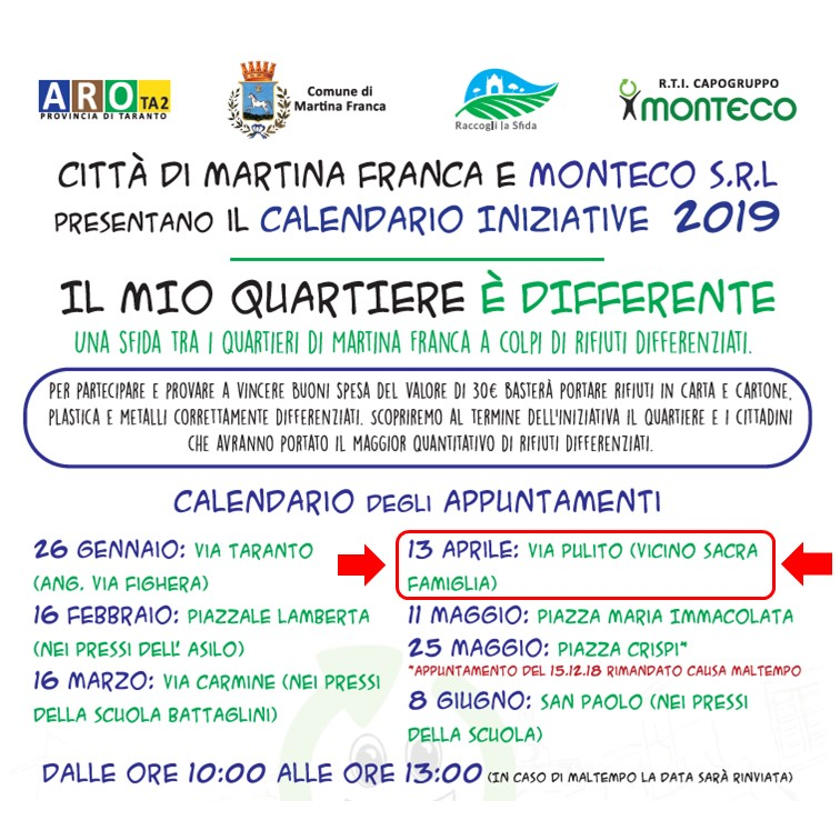 """Martina Franca - Nuovo appuntamento con l'iniziativa itinerante """"Il mio quartiere è differente"""""""