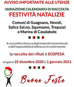 ARO LE 1: Comuni di Guagnano, Novoli, Salice Salentino, Squinzano, Trepuzzi e Marina di Casalabate. Variazione calendario di Raccolta per festività natalizie